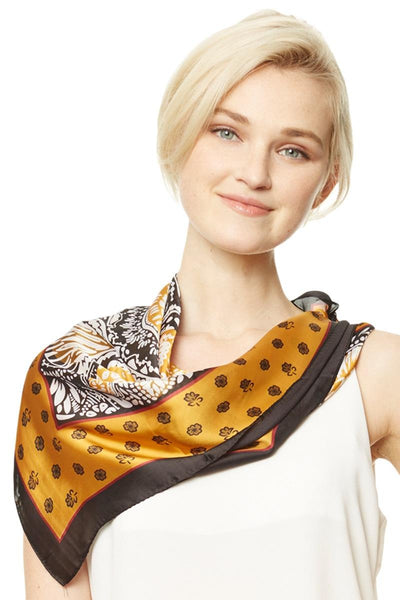 Abstract Floral Print Square Scarf