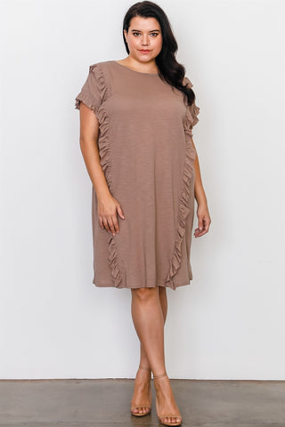 Plus Size Ruffle Front Midi Dress - the-jewelry-barn