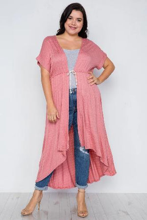 Plus Size Basic High Low Cardigan Cover Up - the-jewelry-barn