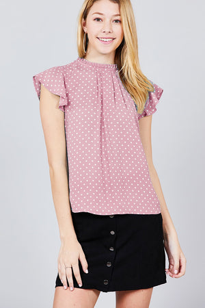 Short Sleeve Ruffle Neck Back Button Dot Print Woven Top - the-jewelry-barn