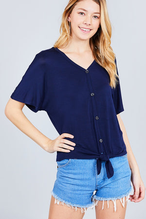 Short Dolman Sleeve V-neck W/button Detail Front Tie Rayon Spandex Cardigan - the-jewelry-barn