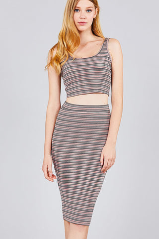 Double Scoop Neck Crop Top Pencil Midi Skirt - The Jewelry Barn