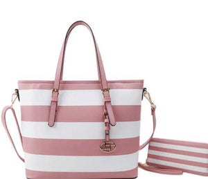 2in1 Modern Striped Shopper Bag With Matching Wallet - The Jewelry Barn