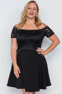 Plus Size Off-the-shoulder Skater Mini Dress - the-jewelry-barn