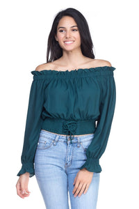 Smock Bottom Ruffle Off Shoulder Shirt - the-jewelry-barn