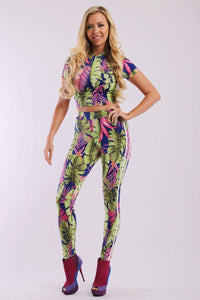 Leaf Print And Striped Side Contrast 2 Pieces Set High Waist Full Leggings - The Jewelry Barn