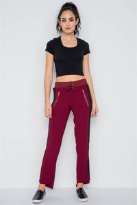 Wine Contrast Trim Raw Hem Casual Sporty Pants - the-jewelry-barn