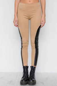 Faux Leather Sides Mid-rise Leggings - The Jewelry Barn