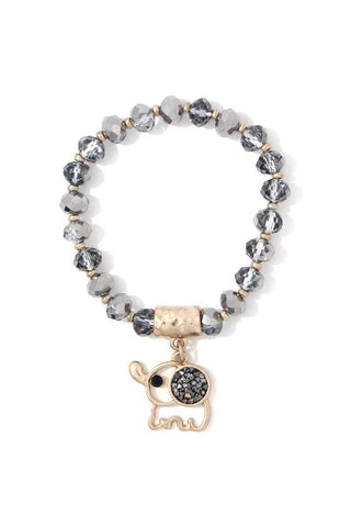 Elephant Charm Dangle Beaded Stretch Bracelet - the-jewelry-barn