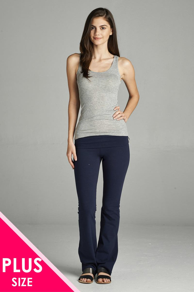 Full Length Leggings With Flare Bottom Detail And Fold Over Waist - the-jewelry-barn