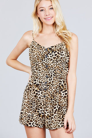 V-neck Button Detail Animal Print Cami Romper - the-jewelry-barn