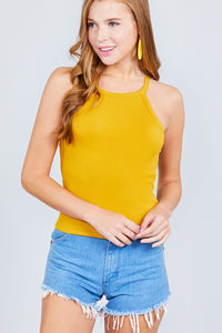 Halter Neck Cotton Spandex Rib Knit Top - the-jewelry-barn