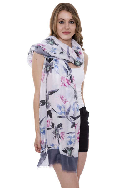 Soft Floral Print Oblong Scarf With Short Trim - the-jewelry-barn