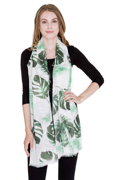 Leaves Print Oblong Scarf - the-jewelry-barn
