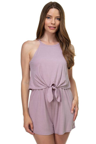 Sleeveless Ribbed Front Tie Romper - the-jewelry-barn