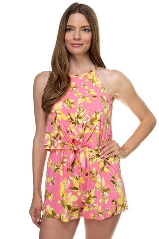 Floral Print Sleeveless Romper - the-jewelry-barn