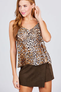 V-neck Back Cross Strap Animal Print Cami Woven Top - the-jewelry-barn