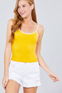 Double Round Neck Contrast Cami Top - the-jewelry-barn