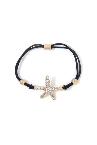 Rhinestone Starfish Suede Bracelet - the-jewelry-barn