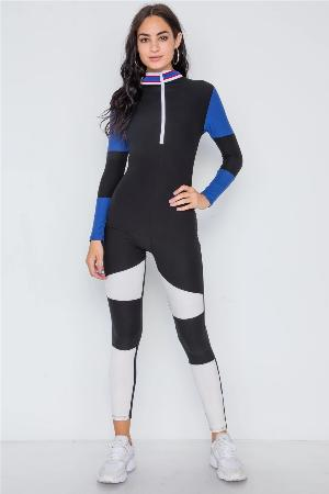 Blue Black Color Block Long Sleeve Zip-up Jumpsuit - the-jewelry-barn