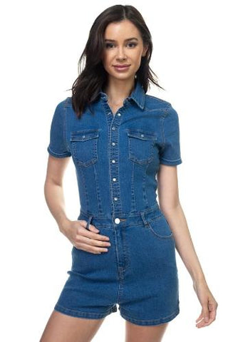 Denim Short Sleeve Romper - the-jewelry-barn