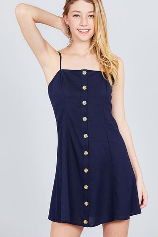 Button Down Cami Linen Mini Dress - the-jewelry-barn