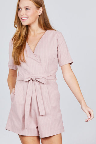 Short Sleeve V-neck Surplice W/waist Belt Stripe Romper - the-jewelry-barn