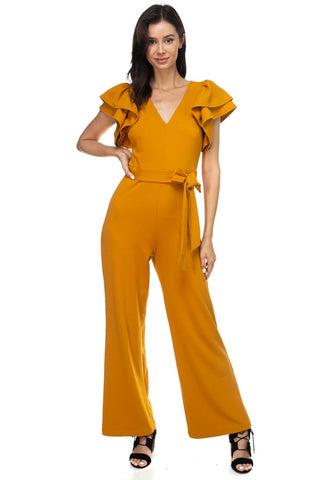 Ruffle Sleeve V-neck Jumpsuit - the-jewelry-barn
