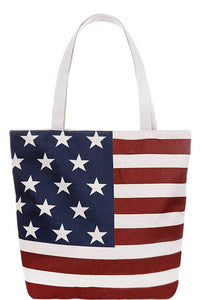 Trendy Us Flag Print Canvas Tote Bag - The Jewelry Barn