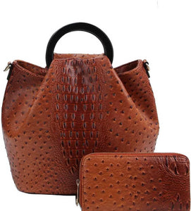 2in1 Stylish Croco Pattern Chic Satchel With Long Strap - The Jewelry Barn