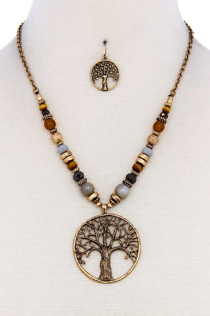 Trendy Bead And Tree Pendant Necklace And Earring Set - The Jewelry Barn