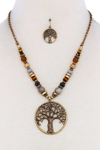 Trendy Bead And Tree Pendant Necklace And Earring Set - the-jewelry-barn