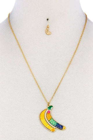 Fashion Stitch Banana Pendant Necklace And Earring Set - the-jewelry-barn