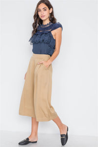 Khaki High Waist Cropped Wide Leg Pants - the-jewelry-barn