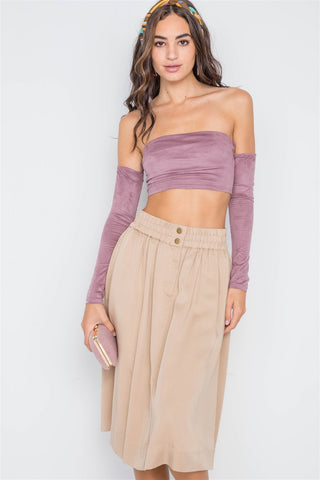 Khaki High-waist Solid Midi Skirt - the-jewelry-barn