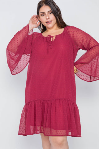 Plus Size Burgundy Bell Sleeves Shirred Dress - the-jewelry-barn