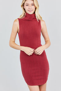 Sleeveless Cowl Neck Rib Mini Dress - the-jewelry-barn