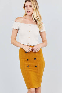 Button Detail Rib Midi Skirt - the-jewelry-barn