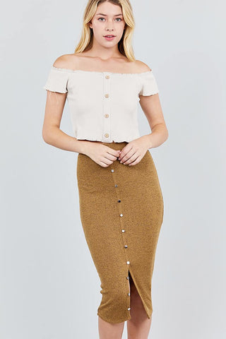 Front Button Down Detail Tow Tone Knit Midi Skirts - the-jewelry-barn
