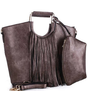 2in1 Stylish Tassel Fringe Satchel With Long Strap - The Jewelry Barn