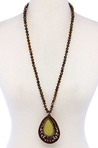 Designer Tear Drop Double Layer Pendant Necklace - the-jewelry-barn