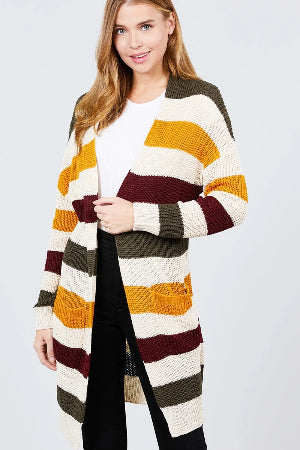 Long Sleeve W/two Pocket Color Block Sweater Cardigan - the-jewelry-barn