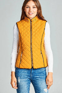 Faux Shearling Lined Quilted Padding Vest - the-jewelry-barn
