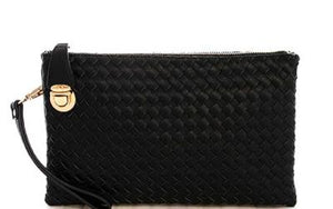 Fashion Cute Trendy Woven Clutch Crossbody Bag With Two Straps - the-jewelry-barn