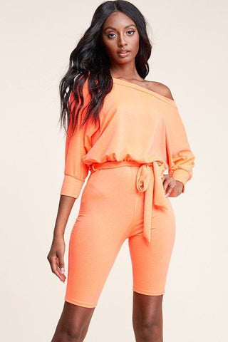 Slouchy Solid French Terry 3/4 Sleeve Romper - The Jewelry Barn