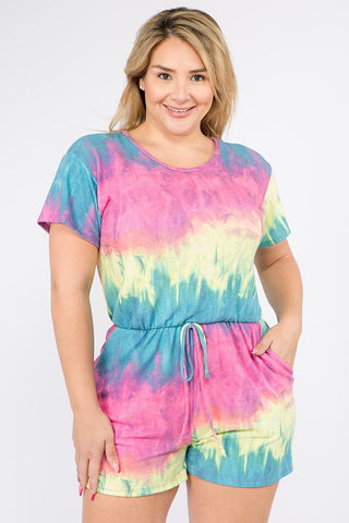 Tie Dye French Terry Short Sleeve Romper With Pockets - The Jewelry Barn