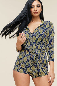Multi Color Snake Print 3/4 Sleeve Romper - The Jewelry Barn