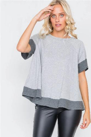 Grey Contrast Trim Flare Cotton Tee - The Jewelry Barn