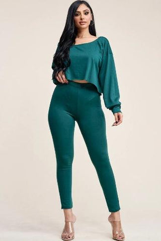 Solid French Terry Long Sleeve Slouchy Top And Leggings Two Piece Set Green - The Jewelry Barn