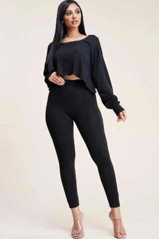 Solid French Terry Long Sleeve Slouchy Top And Leggings Two Piece Set Black - The Jewelry Barn